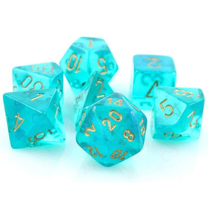 Chessex Dice: Borealis, 7-Piece Sets-Teal w/Gold-LVLUP GAMES
