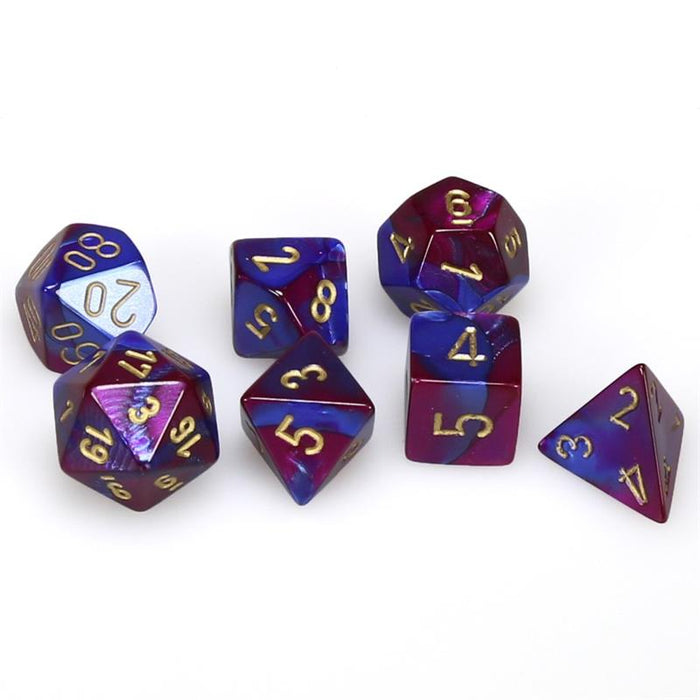 Chessex Dice: Gemini, 7-Piece Sets-Blue-Purple w/Gold-LVLUP GAMES