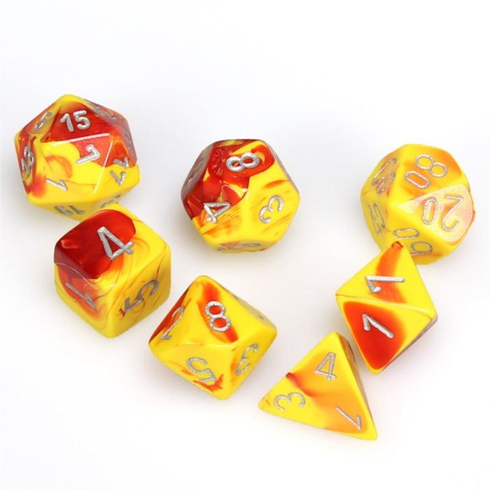 Chessex Dice: Gemini, 7-Piece Sets-Red-Yellow w/Silver-LVLUP GAMES