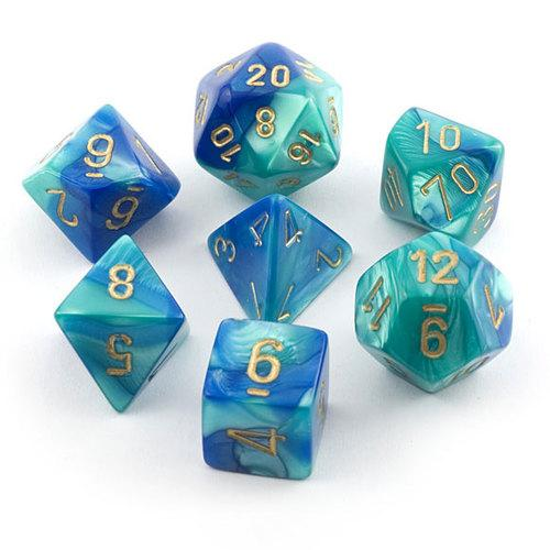 Chessex Dice: Gemini, 7-Piece Sets-Blue-Teal w/Gold-LVLUP GAMES