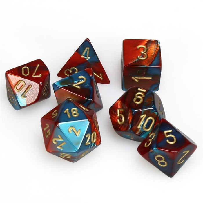 Chessex Dice: Gemini, 7-Piece Sets-Red-Teal w/Gold-LVLUP GAMES