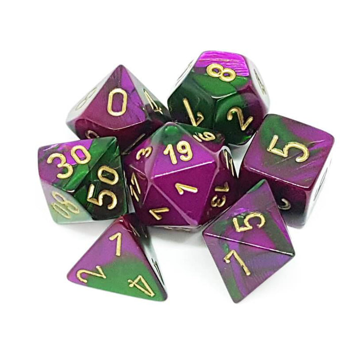 Chessex Dice: Gemini, 7-Piece Sets-Green-Purple w/Gold-LVLUP GAMES