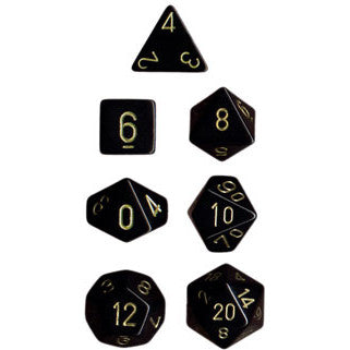 Chessex Dice: Opaque Colours, 7-Piece Sets-Black w/Gold-LVLUP GAMES