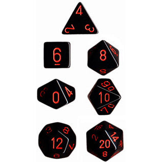 Chessex Dice: Opaque Colours, 7-Piece Sets-Black w/Red-LVLUP GAMES