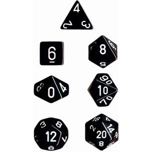 Chessex Dice: Opaque Colours, 7-Piece Sets-Black w/White-LVLUP GAMES