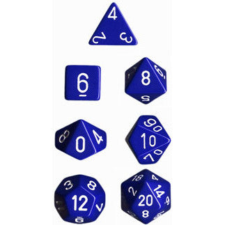 Chessex Dice: Opaque Colours, 7-Piece Sets-Blue w/White-LVLUP GAMES