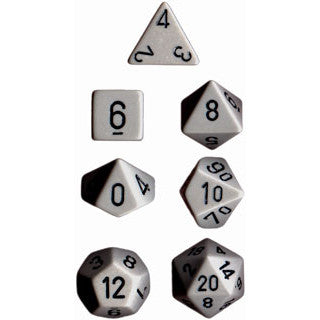 Chessex Dice: Opaque Colours, 7-Piece Sets-Dark Grey w/Black-LVLUP GAMES