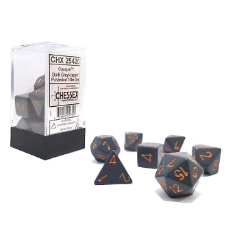Chessex Dice: Opaque Colours, 7-Piece Sets-Dark Grey w/Copper-LVLUP GAMES