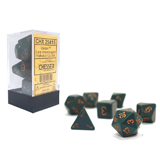 Chessex Dice: Opaque Colours, 7-Piece Sets-Dusty Green w/Copper-LVLUP GAMES