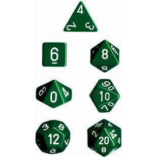 Chessex Dice: Opaque Colours, 7-Piece Sets-Green w/White-LVLUP GAMES