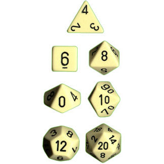 Chessex Dice: Opaque Colours, 7-Piece Sets-Ivory w/Black-LVLUP GAMES