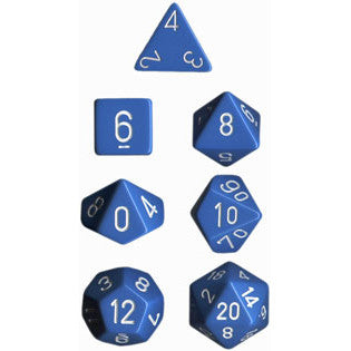 Chessex Dice: Opaque Colours, 7-Piece Sets-Light Blue w/White-LVLUP GAMES
