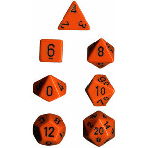 Chessex Dice: Opaque Colours, 7-Piece Sets-Orange w/Black-LVLUP GAMES