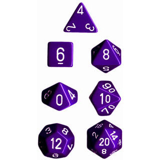Chessex Dice: Opaque Colours, 7-Piece Sets-Purple w/White-LVLUP GAMES