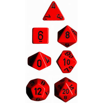 Chessex Dice: Opaque Colours, 7-Piece Sets-Red w/Black-LVLUP GAMES