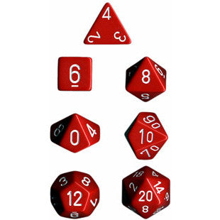 Chessex Dice: Opaque Colours, 7-Piece Sets-Red w/White-LVLUP GAMES