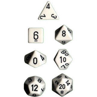 Chessex Dice: Opaque Colours, 7-Piece Sets-White w/Black-LVLUP GAMES
