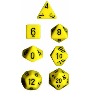 Chessex Dice: Opaque Colours, 7-Piece Sets-Yellow w/Black-LVLUP GAMES
