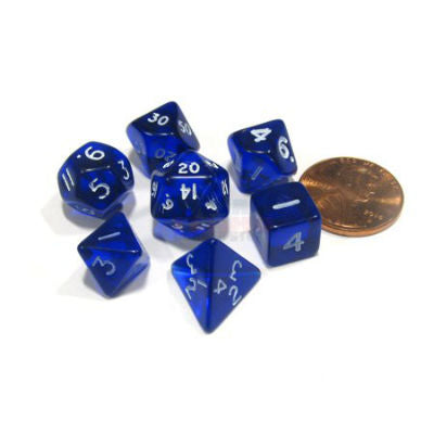 Chessex Mini Dice: Transparent Colours, 7-Piece Sets