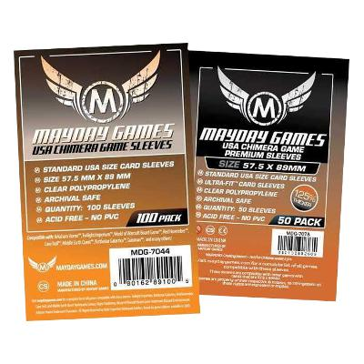 Mayday: Premium Soft Sleeves - Standard USA Chimera 57.5x89mm, Clear 50ct.-LVLUP GAMES