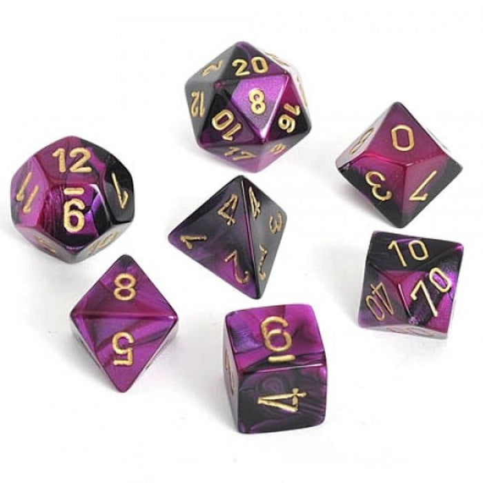 Chessex Dice: Gemini, 7-Piece Sets-Black-Purple w/Gold-LVLUP GAMES