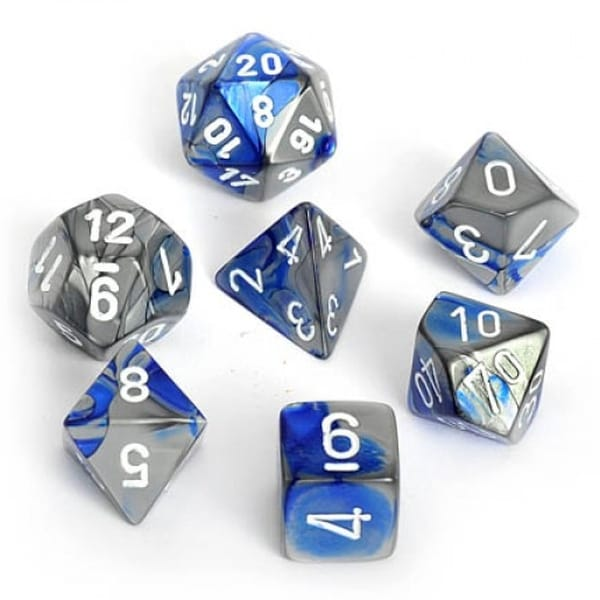 Chessex Dice: Gemini, 7-Piece Sets-Blue-Steel w/White-LVLUP GAMES