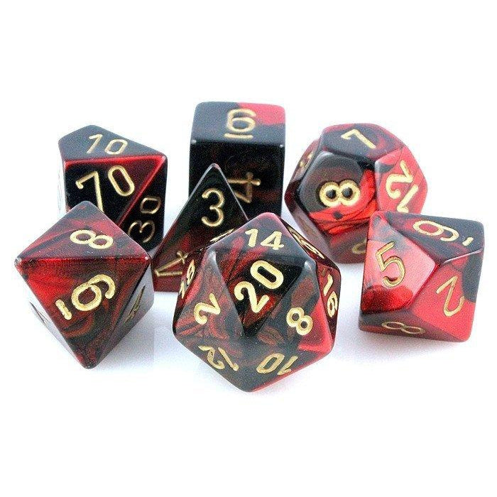 Chessex Dice: Gemini, 7-Piece Sets-Black-Red w/Gold-LVLUP GAMES