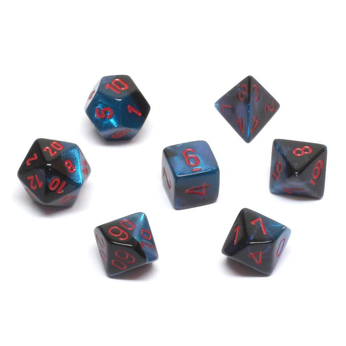 Chessex Dice: Gemini, 7-Piece Sets-Black-Starlight w/Red-LVLUP GAMES