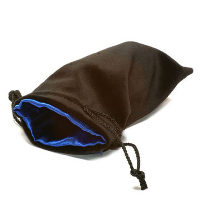 "Koplow Satin-Lined Dice Bag, 5"" x 8"" Large-Black w/Blue-LVLUP GAMES"