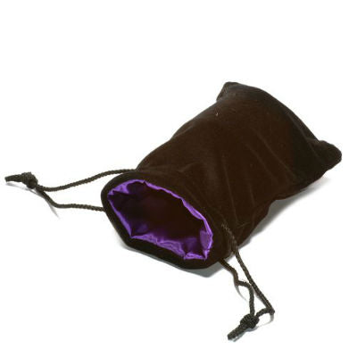 Koplow dice bag large velvet black with purple satin lining