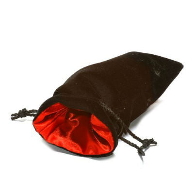Koplow dice bag large velvet black with red satin lining