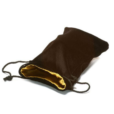 Koplow dice bag large velvet black with gold satin lining