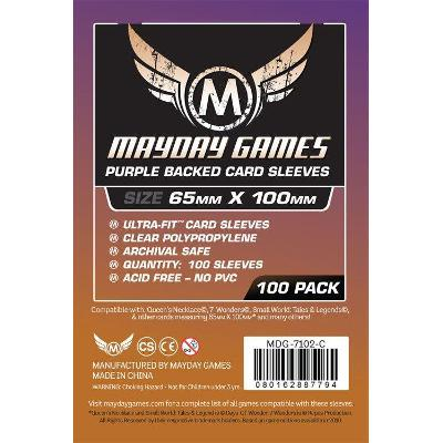 Mayday: Standard Soft Sleeves - Special Sized Sleeves 65x100mm, Clear w/Blue Back 100ct-LVLUP GAMES