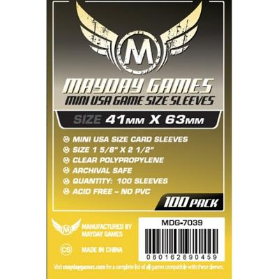 Mayday: Standard Soft Sleeves - Mini USA 41x63mm, Clear 100ct.-LVLUP GAMES