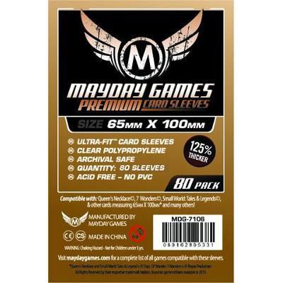 Mayday: Premium Soft Sleeves - Special Sized Sleeves 65x100mm, Clear 80ct-LVLUP GAMES