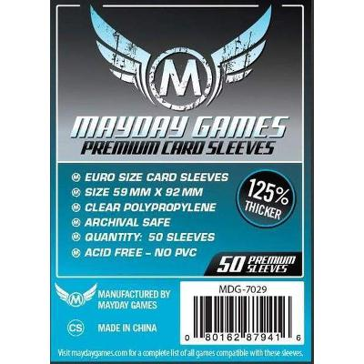 Mayday: Premium Soft Sleeves - Standard Euro 59x92mm, Clear 50ct-LVLUP GAMES