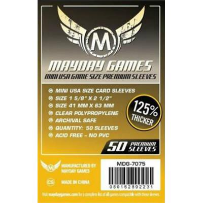 Mayday: Premium Soft Sleeves - Mini USA 41x63mm, Clear 50ct.-LVLUP GAMES