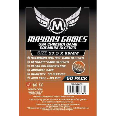 Mayday: Standard Soft Sleeves - Standard USA Chimera 57.5x89mm, Clear 100ct.-LVLUP GAMES