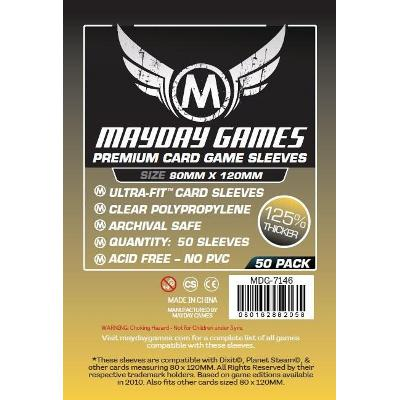 Mayday: Premium Soft Sleeves - Large Card Sleeves 80x120mm, Clear 50ct.-LVLUP GAMES