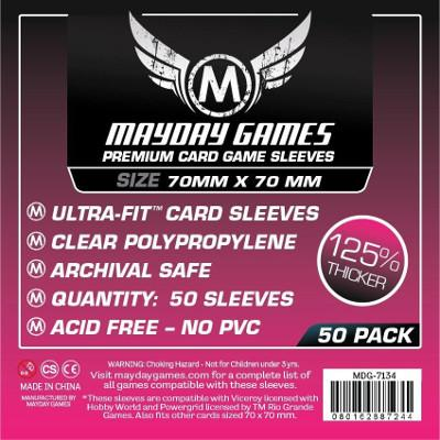 Mayday: Standard Soft Sleeves - Small Square 70mmx70mm, Clear 100ct.-LVLUP GAMES