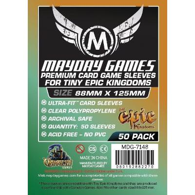 "Mayday: Premium Soft Sleeves - ""Tiny Epic Kingdoms"" Card Sleeves 88x125mm, Clear 50ct."