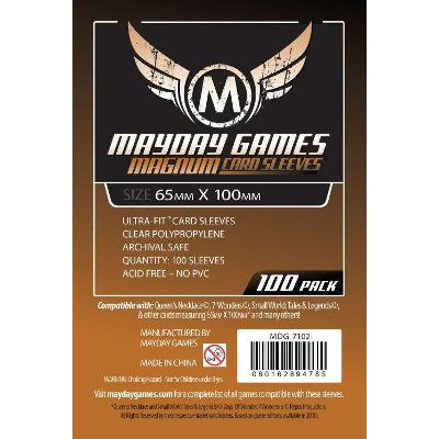 Mayday: Standard Soft Sleeves - Special Sized Sleeves 65x100mm, Clear 100ct-LVLUP GAMES