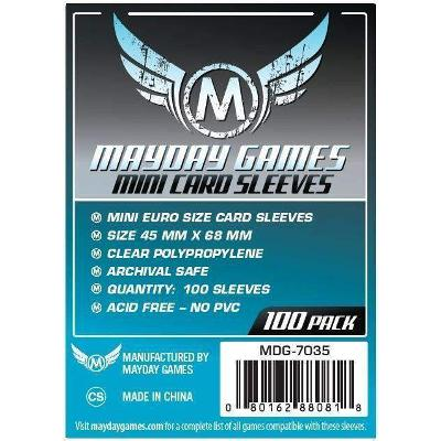 Mayday: Standard Soft Sleeves - Mini Euro 45x68mm, Clear 100ct.-LVLUP GAMES
