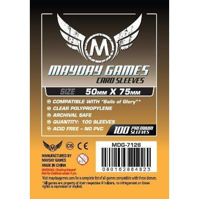 "Mayday: Standard Soft Sleeves - ""Sails of Glory"" Card Sleeves 50x75mm, Clear 100ct.-LVLUP GAMES"