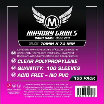 Mayday: Premium Soft Sleeves - Small Square 70mmx70mm, Clear 50ct.-LVLUP GAMES