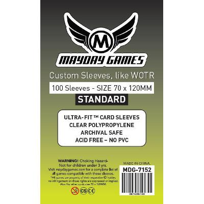 Mayday: Standard Soft Sleeves - Tarot 70x120mm, Clear 100ct.-LVLUP GAMES