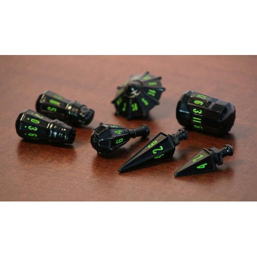 PolyHero Dice: Warrior Set-Black w/Goblin Green-LVLUP GAMES