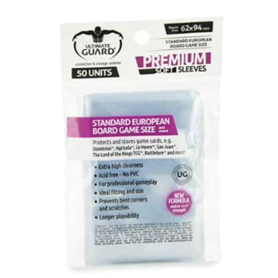 Ultimate Guard: Premium Soft Sleeves - Standard European, 50ct Clear-LVLUP GAMES