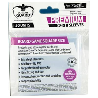 Ultimate Guard: Premium Soft Sleeves - Square, 50ct Clear-LVLUP GAMES