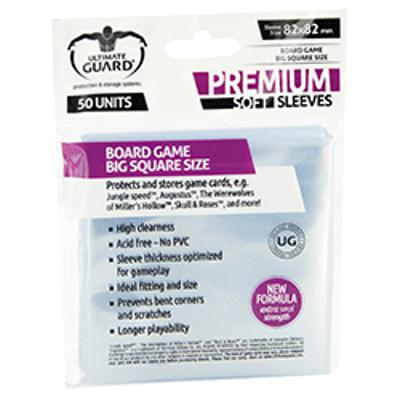 Ultimate Guard: Premium Soft Sleeves - Big Square, 50ct Clear-LVLUP GAMES